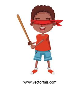 Boy with blinfolded and bat