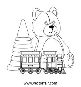 bear and train toy line icon