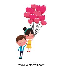 Cute couple flying with balloons cartoon