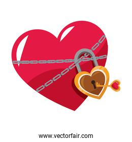 Heart locked with chains and padlock