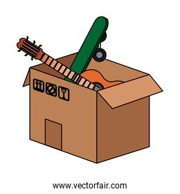 Box with guitar and skateboard