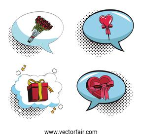 Collection of romantic gifts pop art cartoon