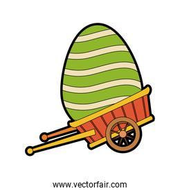 Cute easter egg on wheelbarrow cartoon