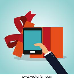 Gift box and smartphone