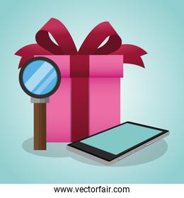 Gift box with magnifying glass and smartphone