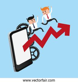 Business teamwork working with smartphone