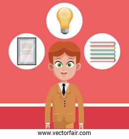 Businessman cartoon with round office icons