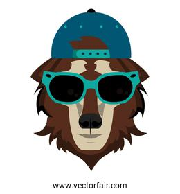Cool hipster wolf
