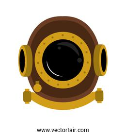Antique diving helmet isolated icon