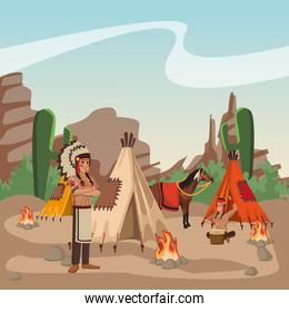 American indian warriors at village