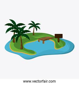 Beach design. Palm tree icon. Colorful illustration