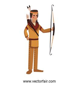American indian with bow and arrows