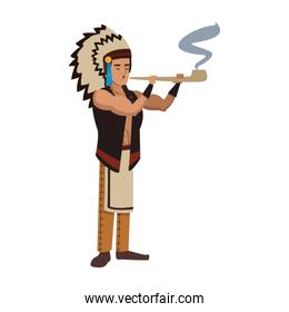 American indian with tobacco pipe