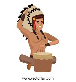 American indian playing drum character