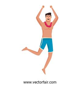 Man with swim suit jumping