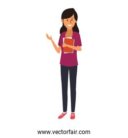 Young female student cartoon