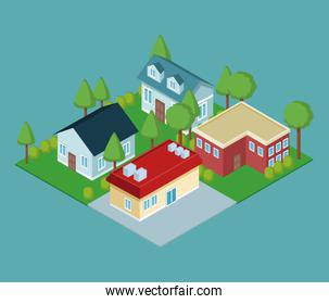 Isometric group of houses