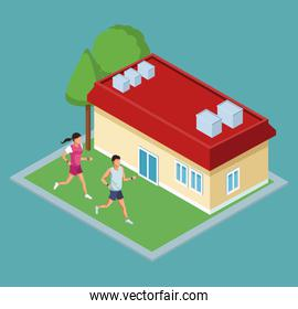 Isometric house with green zones