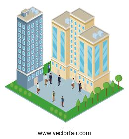 Isometric office buildings