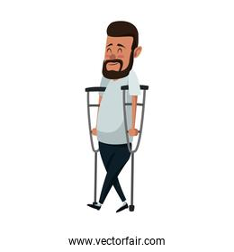 Man with crutches cartoon