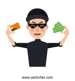 Hacker with credit card and money
