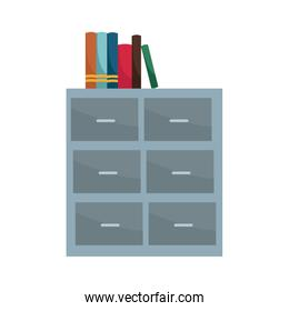 Books on files cabinet
