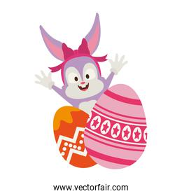 Cute rabbit with easter eggs