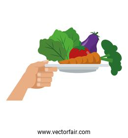 Hand with vegetables on dish