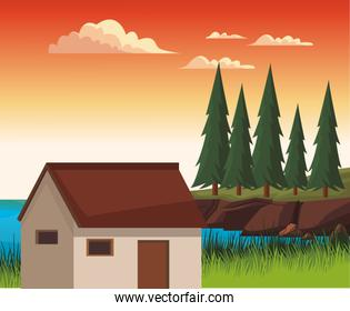 House in nature landscape