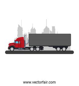 Truck with container at city