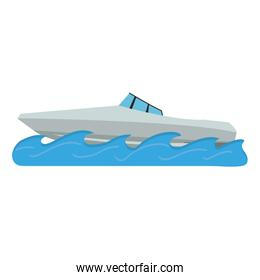 Sport boat in waves isolated
