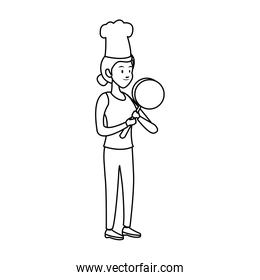 Chef female cartoon on black and white