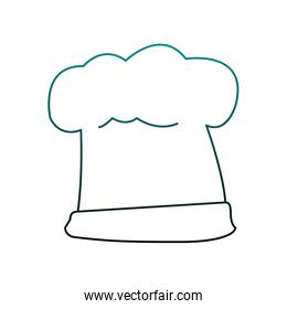 Chef hat cartoon on blue lines