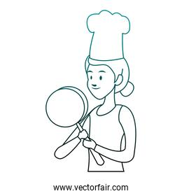 Chef female cartoon on blue lines