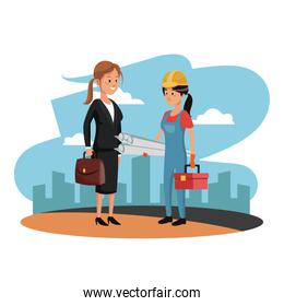 Female worker and architect