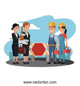 Workers with business teamwork on the street