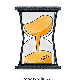 Hourglass with sand scribble