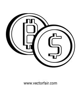 Bitcoin and coin symbol on black and white