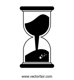 Hourglass with sand on black and white