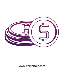 Bitcoin and coin symbol purple lines