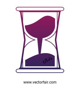 Hourglass with sand purple lines