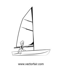 Sailing Water sport on black white colors
