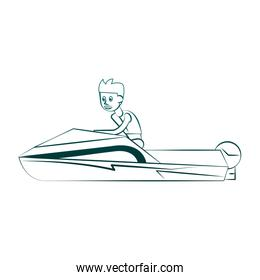 Racing sport boat Water sport on blue lines