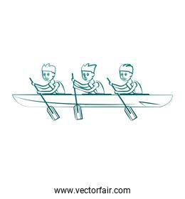 Rowing boat Water sport on blue lines