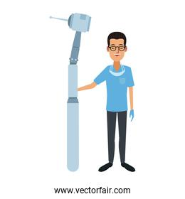 Dentist with tool