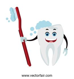 Tooth with toothbrush funny cartoon