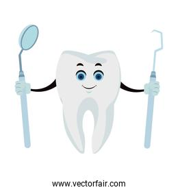 Tooth with dental tools funny cartoon