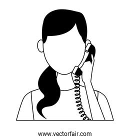 Woman at telephone on black and white