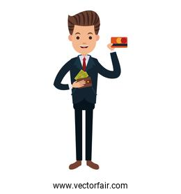 Businessman with credit card and cash