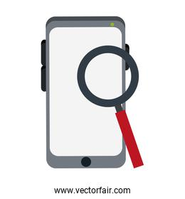 Magnifying glass looking smartphone